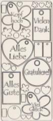 Zier-Sticker-Bogen-3710trs-verschiedene Label mit Schriftzügen-transpartent/silber
