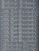 Zier-Sticker-Bogen-0373s-Einladung/Alles Gute/Einschulung/Vatertag-silber