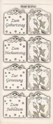 Zier-Sticker-Bogen-für Anhänger-z.B. Zum Geburtstag-transparent/gold-3744trg