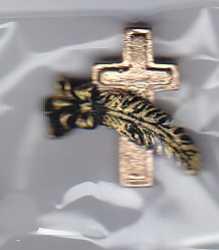 Kreuz mit Feder-gold/schwarz-HobbyFun-CREApop-Tisch/Kartendeko-3cm hoch-179