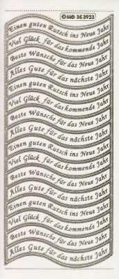 Gravur-Sticker-Bogen-Texte-Glückwünsche fürs neue Jahr-transparent-gold-GR 3923trg