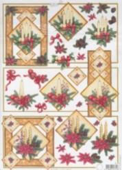 3D Bogen-Etappenbogen-Gesteck mit Kerzen in natur-rot-MD 464