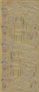 Zier-Sticker-Bogen -Koch-Küche-Geschirr-gold-4115g