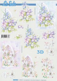 3D Etappen-Bogen-Kirchenfenster mit Blumen-4169750