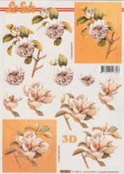 3D Etappen-Bogen-Blumen mit orangem Hintergrund-4169758