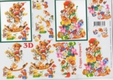 3D Bogen-Etappenbogen-Teddy-Bär auf Schaukelpferd-416993