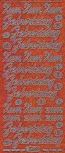 Micro-Glittersticker-Zum Geburtstag-orange/silber-4400gors