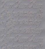 Zier-Sticker-Bogen-Zum Geburtstag-silber-4400s