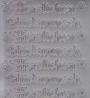 Zier-Sticker-Bogen-Herzlichen Glückwunsch-Gothic-silber-4401s
