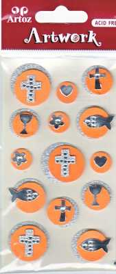 Artoz-3D Sticker-Artwork-Embellishments-50-90-Kommunion-Konfirmation-Bubbles orange