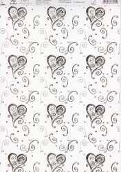 Artoz - Crea Motions- Designkarton-168-selbstklebend-Dancing Heart-tanzende Herzen-weiß / gold