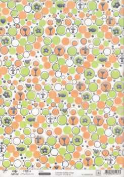 Artoz-CreaMotion-Transparentpapier-115g/qm-Bubbles orange-506696-596