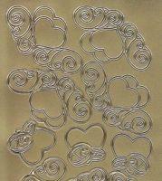 Zier-Sticker-Bogen-Herzen mit Ringen-gold-5099g