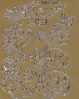 Zier-Sticker-Bogen-kleine Drachen-gold-5105g