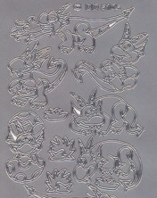 Zier-Sticker-Bogen-5105s-kleine Drachen-silber
