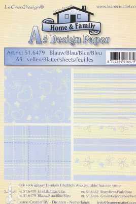 Motiv-Kartenpapier/Karton-LeCrea Design 79-Home and Family-Blau-ca.220g-4Bl-A5