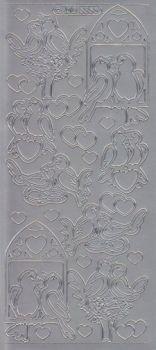 Zier-Sticker-Bogen-Turteltauben-silber-5356s