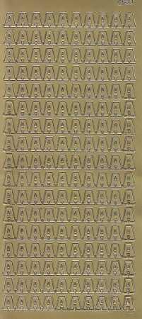 Zier-Sticker-Bogen-Buchstaben- nur A -gold-5500g
