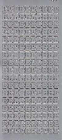 Zier-Sticker-Bogen-Buchstaben- nur B -silber-5506s