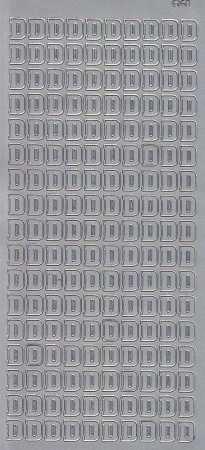 Zier-Sticker-Bogen-Buchstaben- nur D -silber-5516s