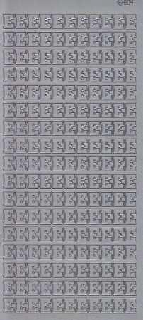Zier-Sticker-Bogen-Buchstaben- nur E -silber-5521s