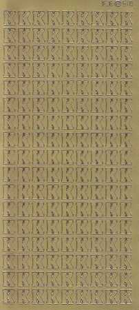 Zier-Sticker-Bogen-Buchstaben- nur K -gold-5550g