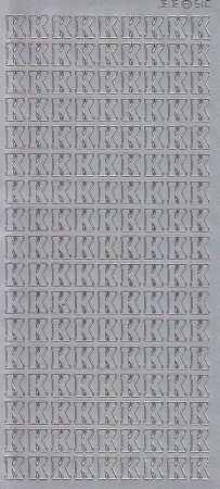 Zier-Sticker-Bogen-Buchstaben- nur K -silber-5551s