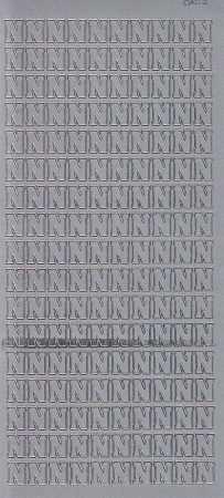 Zier-Sticker-Bogen-Buchstaben- nur N -silber-5566s