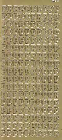 Zier-Sticker-Bogen-Buchstaben- nur P -gold-5575g