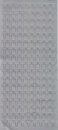 Zier-Sticker-Bogen-Buchstaben- nur T -silber-5596s