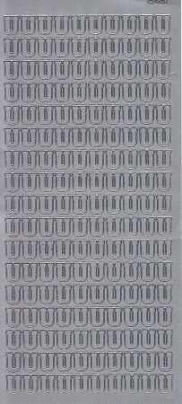 Zier-Sticker-Bogen-Buchstaben- nur U -silber-5601s