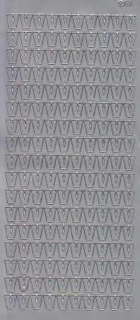 Zier-Sticker-Bogen-Buchstaben- nur V -silber-5606s