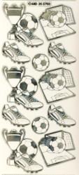 Zier-Sticker-Bogen-Fussball/Pokal/Tor-transparent/gold-5703trg