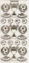 Zier-Sticker-Bogen-Fussball/Pokal/Schuhe-transparent/gold-5704trg