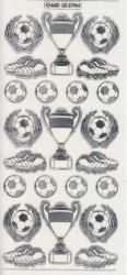Zier-Sticker-Bogen-Fussball/Pokal/Schuhe-transparent/silber-5704trs