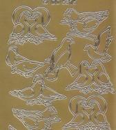 Zier-Sticker-Bogen-Tauben-Turteltauben-gold-5815g