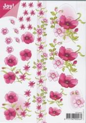 Joy 3D Bogen-6010-0007- Blumen / Mohn - Dunkelrosa DIN A5