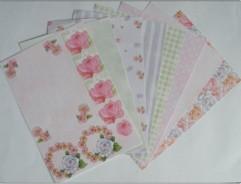 Motiv-Kartenpapier-Joy-grün/rosa-120g-8 Bogen-6011-2