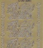 Zier-Stickerbogen-chinesische Drachen-gold-6041g