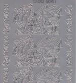 Zier-Stickerbogen-chinesische Drachen-slber-6041s