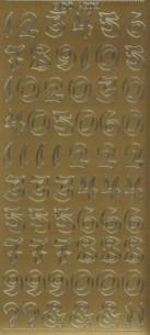 Zier-Sticker-Bogen-Zahlen-groß geschrieben-gold-6202g