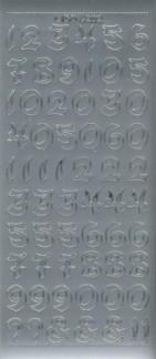 Zier-Sticker-Bogen-Zahlen-groß geschrieben-silber-6202s