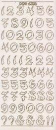 Zier-Sticker-Bogen-Zahlen-groß geschrieben-transparent-gold-6202trg