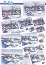 Pyramiden Bogen-Winterliches Dorf-blau/weiß-LeSuh-630129