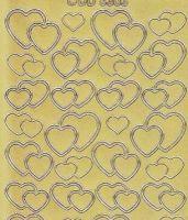 Zier-Sticker-Bogen-6303g-doppelte Herzchen-gold