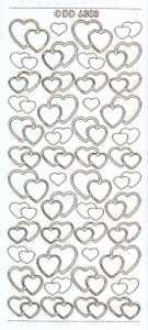 Zier-Sticker-Bogen-doppelte Herzchen-weiß/gold-6303wg
