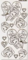 3D Stickerbogen-Rose im Herz-transparent-gold-6305trg