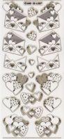 3D Stickerbogen-Umschlag/Herzchen-transparent-gold-6307trg