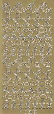 Zier-Sticker-Bogen-christliche Motive-Fische/Tauben-Pax-gold-6320g