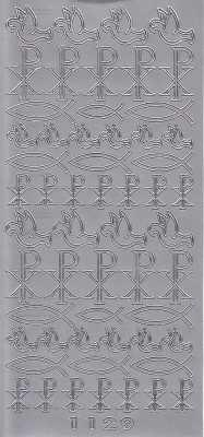 Zier-Sticker-Bogen-christliche Motive-Fische/Tauben-Pax-silber-6320s
